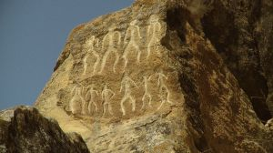 Petroglyphs in the National Park Gobustan in Azerbaijan, 10 c. BC.